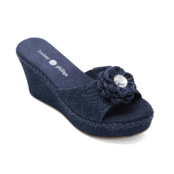 Lindsay Phillips Devon Wedges-Denim